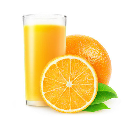 non alcoholic beverage: Orange juice isolated on white with clipping path