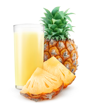 Glass of pineapple juice isolated on white