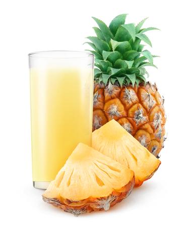 pineapple juice: Glass of pineapple juice isolated on white
