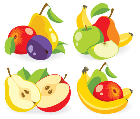 Apples, pears and other fresh fruits  collection Illustration