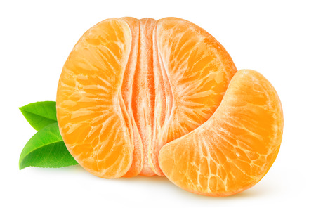 Half of peeled tangerine or orange isolated on white