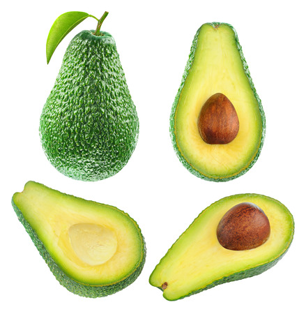 Collection of whole and cut avocado fruits isolated on white with clipping path