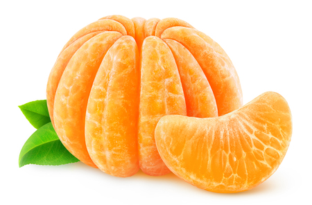 clementine: Whole peeled tangerine or clementine isolated on white Stock Photo