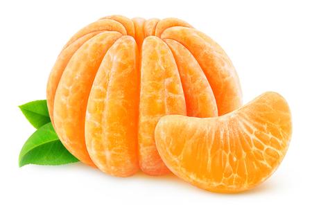 sweet segments: Whole peeled tangerine or clementine isolated on white Stock Photo