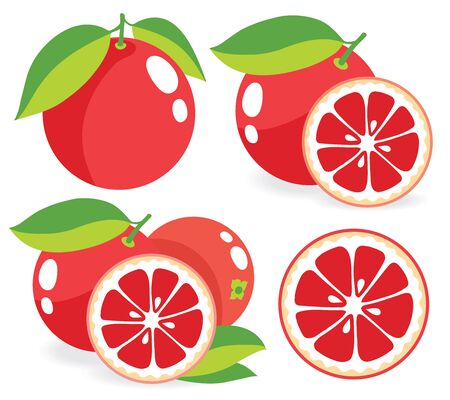 simple cross section: Pink grapefruits, set of vector illustrations