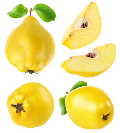 Quince fruits whole and cut collection isolated on white with clipping path