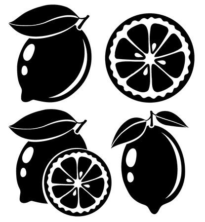 Lemon Schwarz-Weiß-Vektor-Illustration