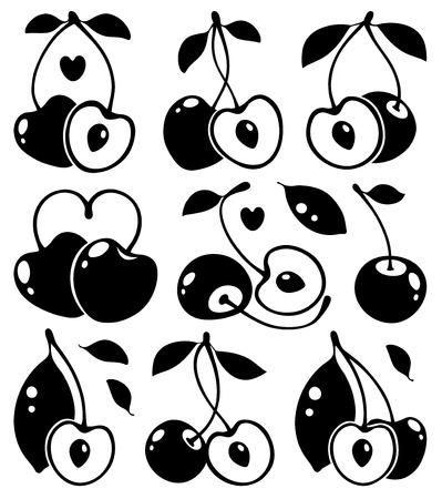 heartshaped: Heart-shaped cherries in black, vector illustration Illustration
