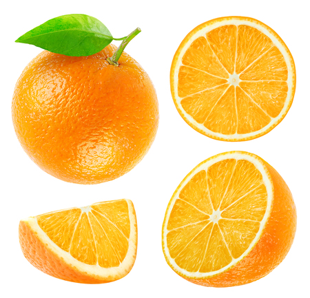 Collection of whole and cut oranges isolated on wihte with clipping path