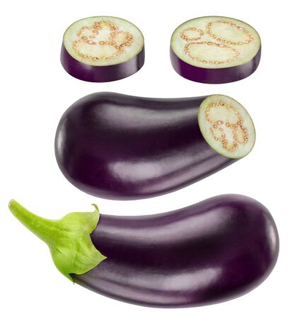 kinds: Collection of whole and cut eggplants isolated on white with clipping path