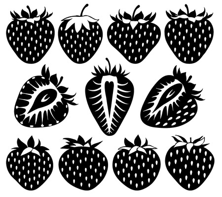 isolated object: Strawberries of different shapes in black, collection of vector illustrations