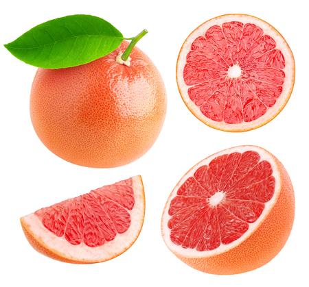 Geheel en snijd grapefruits collectie geïsoleerd op wit met het knippen van weg