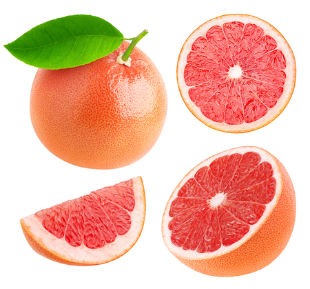 Whole and cut grapefruits collection isolated on white with clipping path