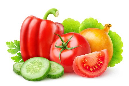 vegetables on white: Various fresh vegetables isolated on white with clipping path