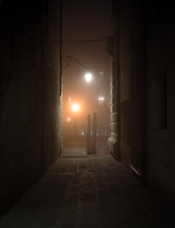 Houten pier aan het einde van een steegje in Venetië 's nachts