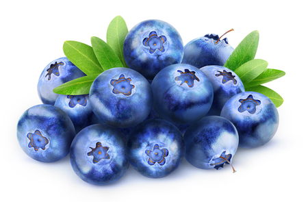 Pile of fresh blueberries isolated on white with clipping path Foto de archivo