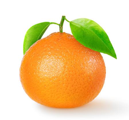 mandarin orange: One tangerine or mandarin orange isolated on white with clipping path Stock Photo