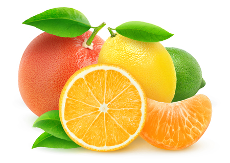 citrus: Various citrus fruits isolated on white with clipping path Stock Photo