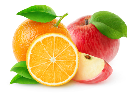 Apples and oranges isolated on white, with clipping path Фото со стока