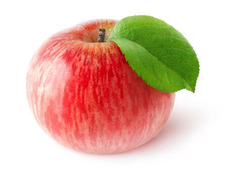 manzana roja: Una manzana roja aislado en blanco con trazado de recorte