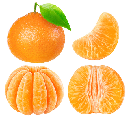 Collection of tangerine pieces isolated on white with clipping path