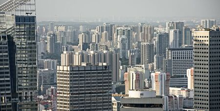 residential: Panorama of residential districts in Singapore Stock Photo