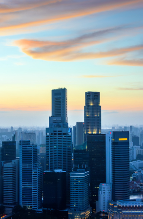 skyscraper skyscrapers: Singapore downtown skyscrapers at sunset