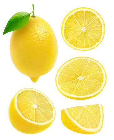 wedge: Collection of lemons isolated on white