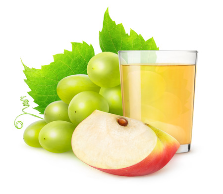 non alcoholic beverage: Glass of grape and apple juice isolated on white with clipping path Stock Photo