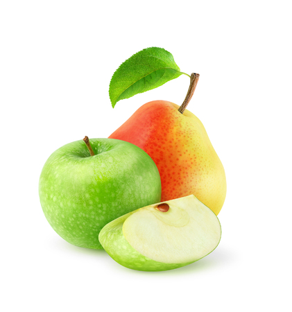 sweet segments: Fresh apple and pear isolated on white