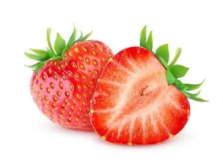 두 개의 딸기 흰색으로 격리