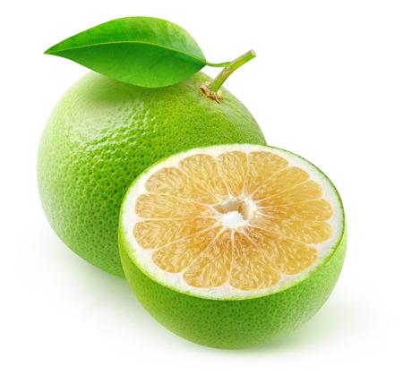 Isolated white grapefruits. Cut fruits isolated on white background Stock Photo