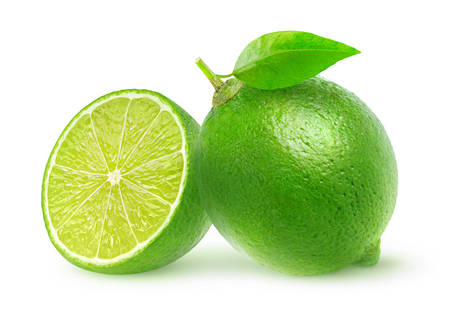 two object: Isolated cut limes. One and a half lime fruit isolated on white background