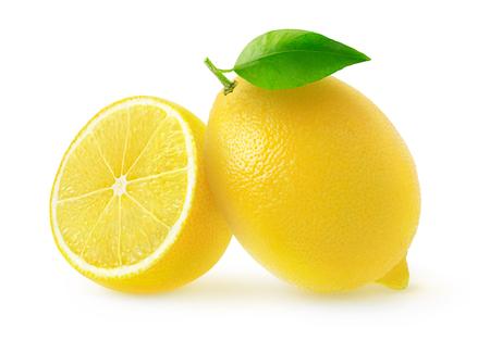 Isolated cut lemons. One and a half lemon fruits isolated on white background