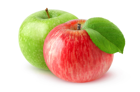 isolated on green: Two isolated apple fruits. Red and green apples isolated on white background Stock Photo