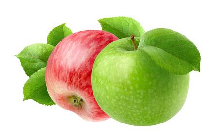 manzana verde: Dos manzanas aisladas. frutas rojas y verdes manzana aislada en el fondo blanco Foto de archivo