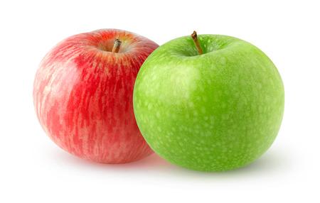 manzana roja: manzanas dobles aislados. frutas rojas y verdes manzana aislada en el fondo blanco