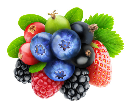 antioxidants: Isolated berries. Various fresh berry fruits (blueberry, black and red currants, raspberry, strawberry, blackberry, gooseberry) isolated on white background