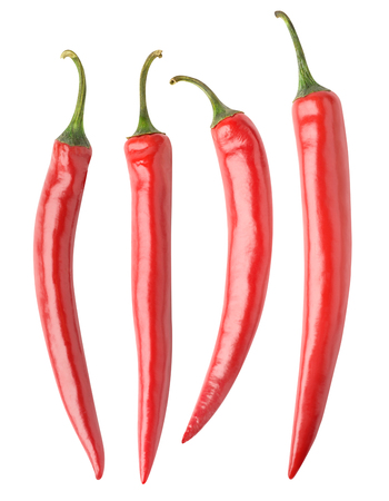 tabasco: Collection of various red hot chili peppers isolated on white background