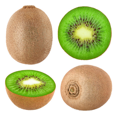Collection of whole and cut kiwi fruits isolated on white background