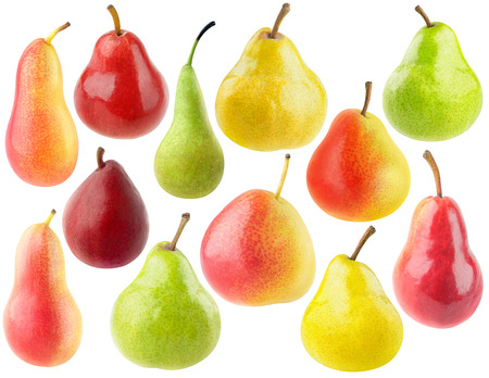 Isolated pears. Collection of various pear fruits isolated on white background