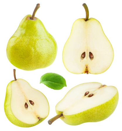 Isolated pears. Collection of whole and sliced yellow green pear fruits isolated on white background