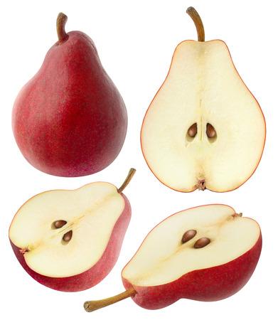 segmento: peras aislados. Colección de enteros y en rodajas de pera frutos rojos aislados en el fondo blanco Foto de archivo