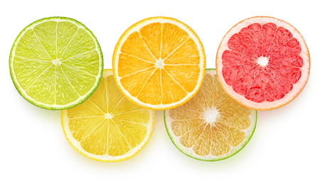 lemon slice: Slices of citrus fruits isolated on white background