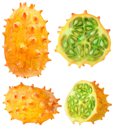 hedged: Isolated kiwano. Collection of whole and cut horned melons (kiwano) isolated on white background