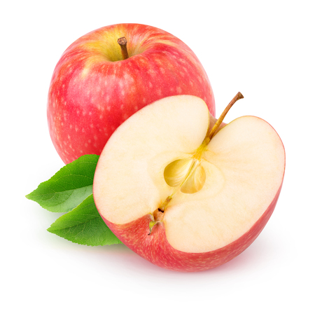 Isolated apple. Cut red apple fruits isolated on white background