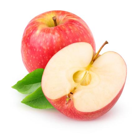 pomme rouge: pomme isolé. Couper la pomme fruits rouges isolé sur fond blanc