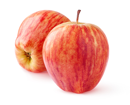 ripe: Two red apples isolated on white background Stock Photo
