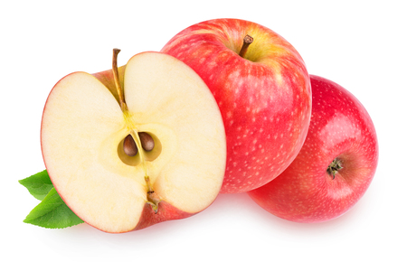 two and a half: Isolated apples. Two and a half red apples isolated on white background Stock Photo