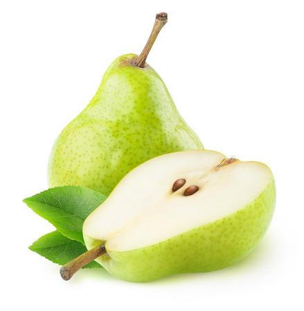 peras aislados. Una hora y media pera verde frutas aisladas sobre fondo blanco Foto de archivo